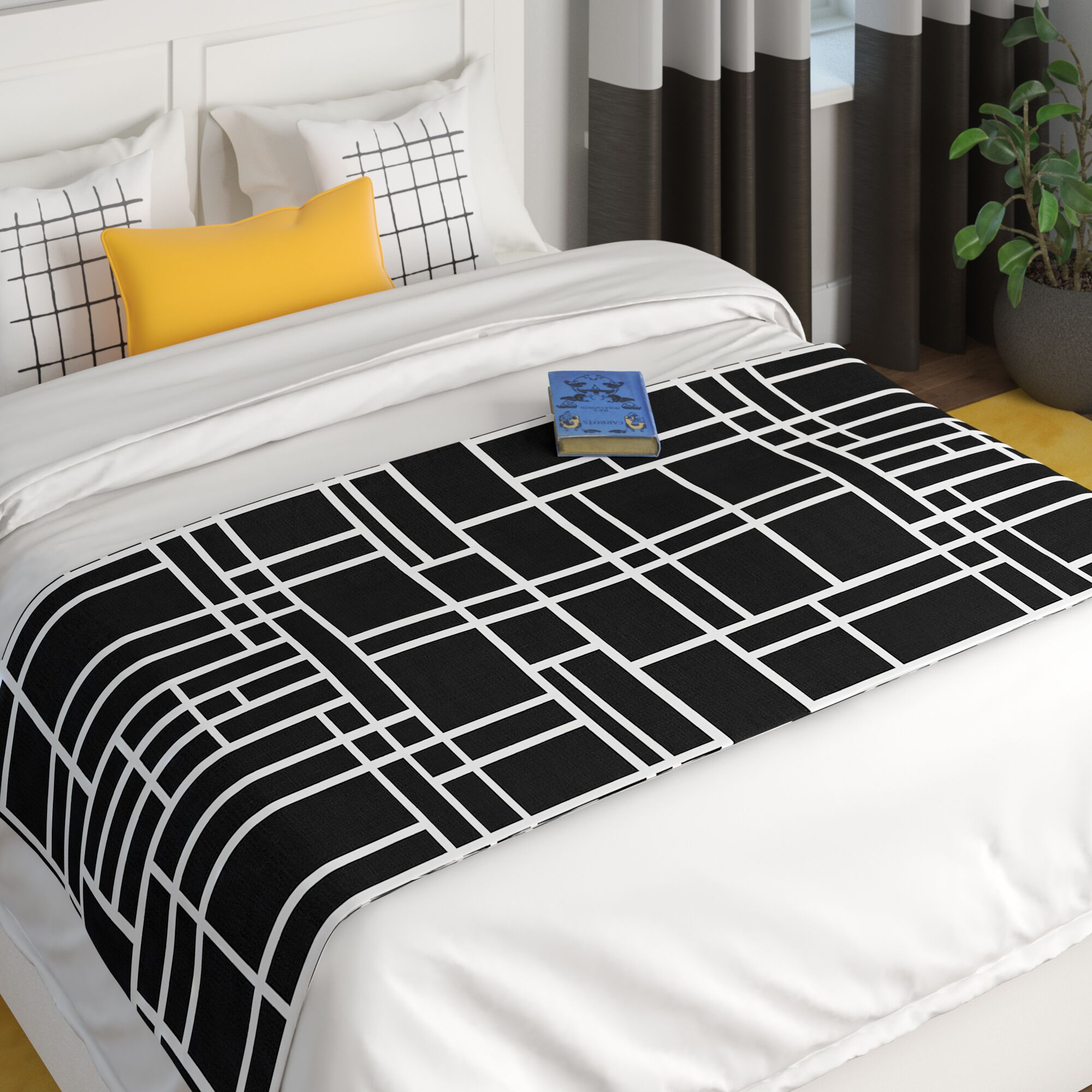 Project M Map Outline Simple Geometric Lines Bed Runner Color: Black