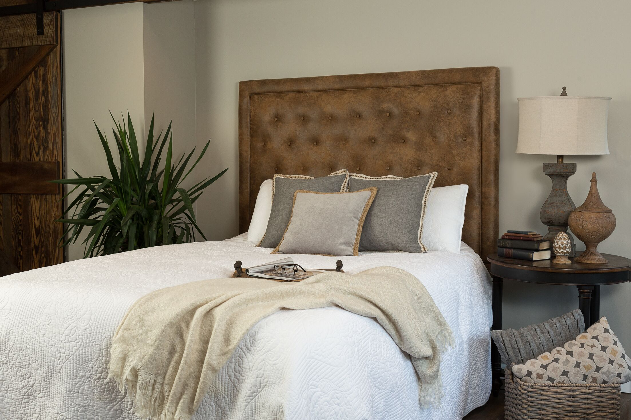 Mcalpin Queen Upholstered Panel Headboard Upholstery: Polyester Brown