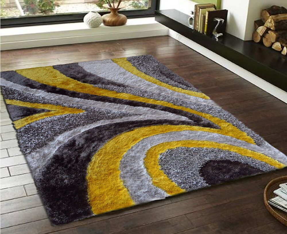 Pabon Shaggy Hand-Tufted Gray/Yellow Area Rug