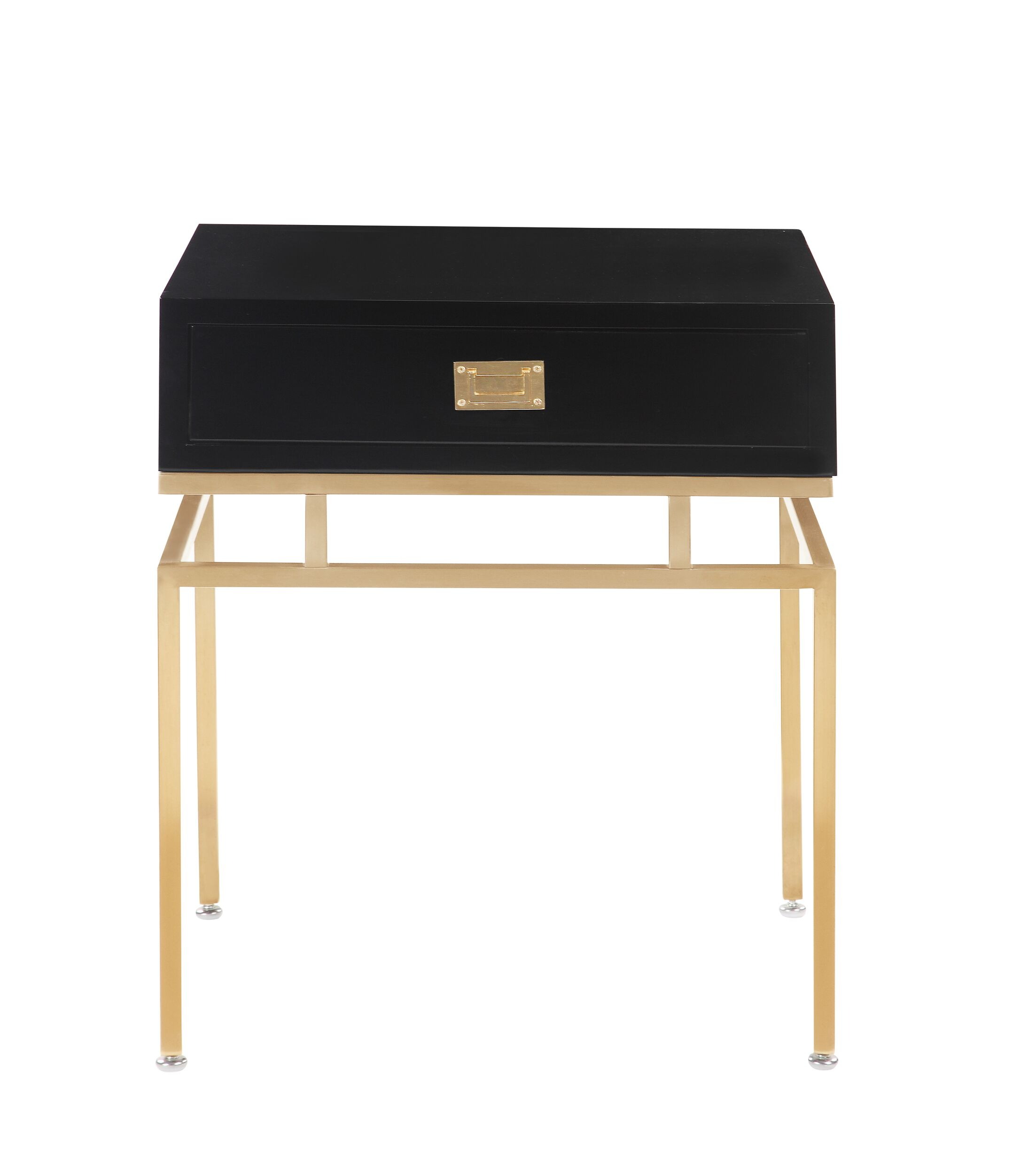 Krupa End Table with Storage Color: Black