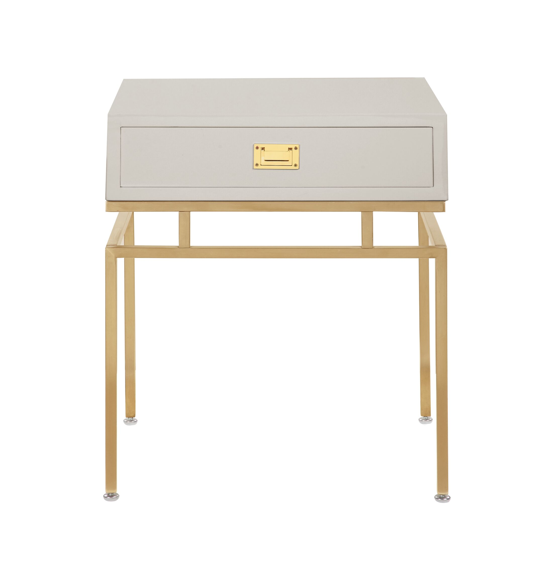 Krupa End Table with Storage Color: Beige