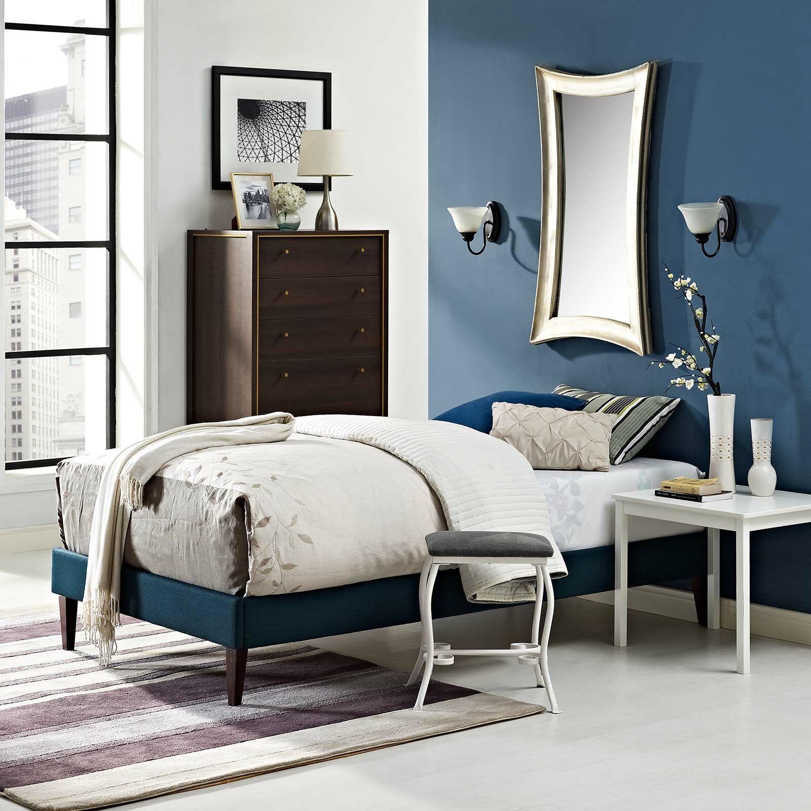 Eisenbarth Upholstered Platform Bed Color: Azure, Size: Full