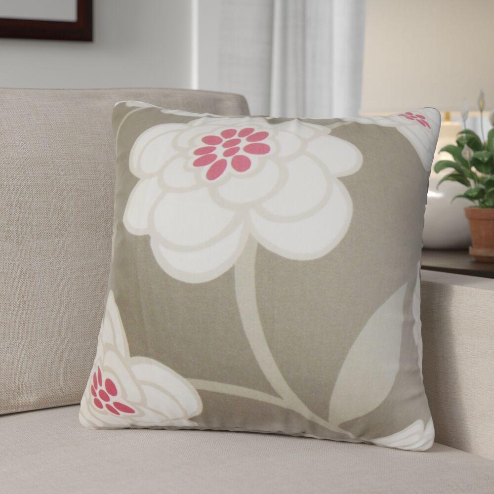 Parkstone Floral Cotton Throw Pillow Color: Dove, Size: 24