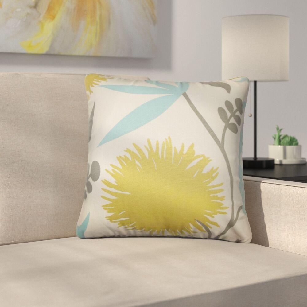 Buhl Floral Cotton Throw Pillow Color: Aegean, Size: 24