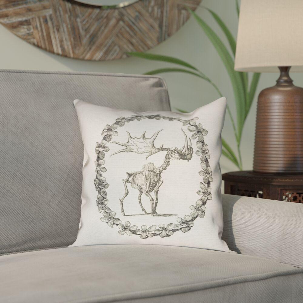 Brie Vintage Elk Skeleton Outdoor Throw Pillow Size: 16