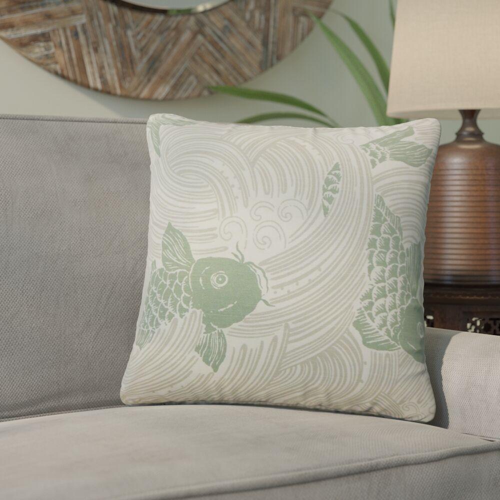 Yuriko Graphic Cotton Throw Pillow Color: Green