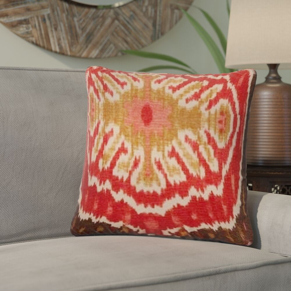 Ariyah Ikat Cotton Throw Pillow Color: Red