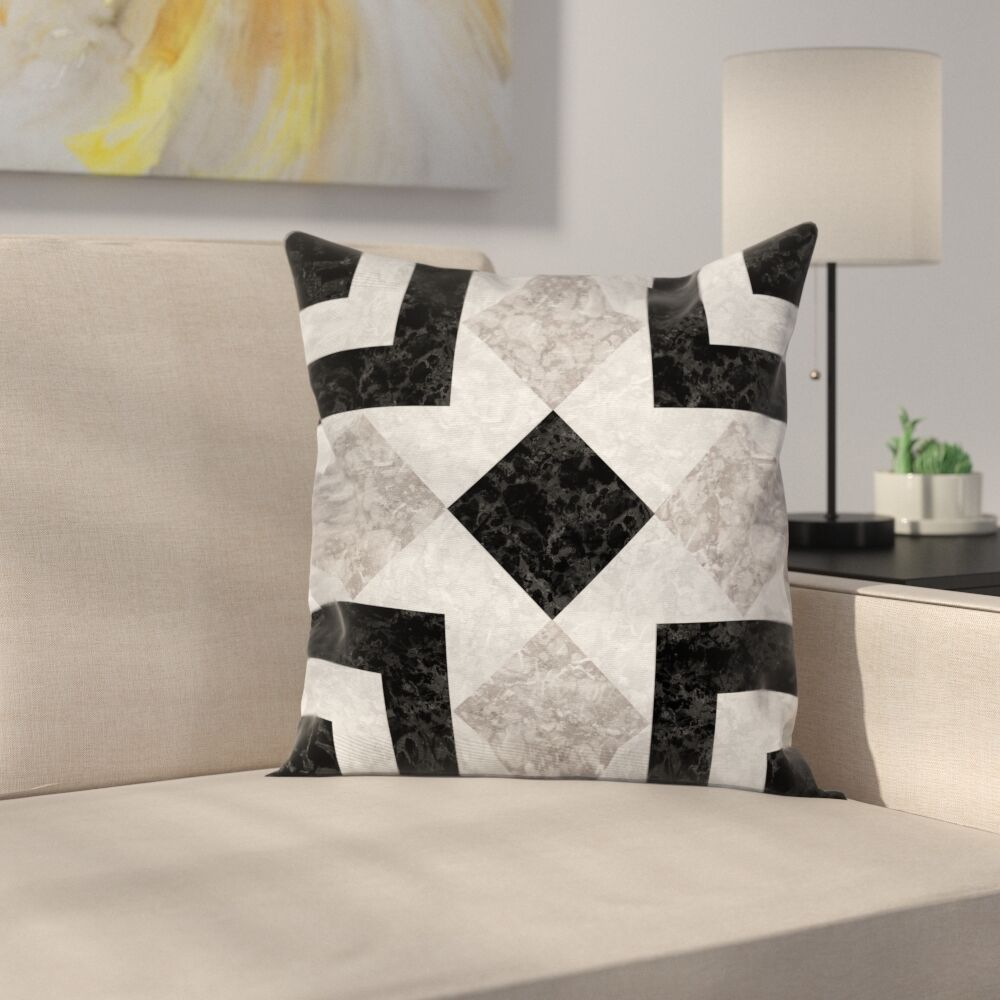 Authentic Marble Effect Square Pillow Cover Size: 18