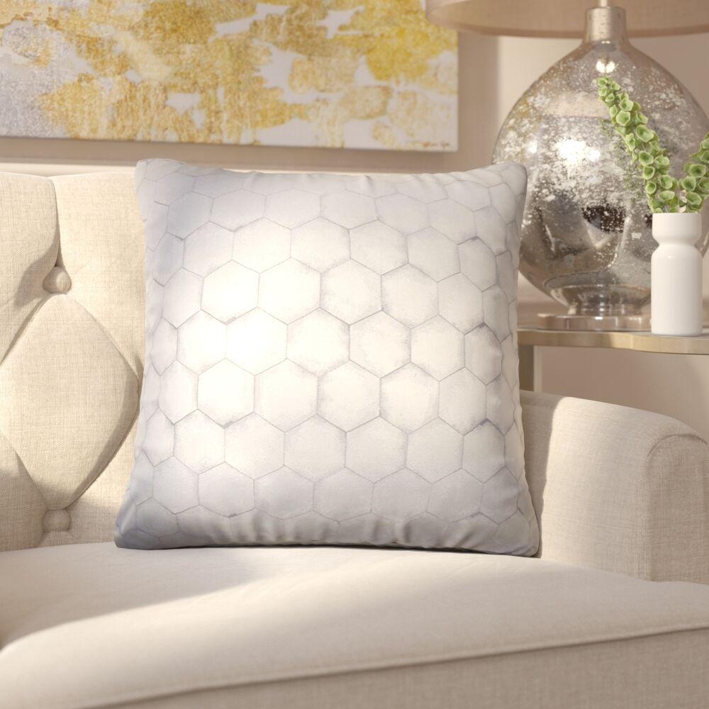 Sybilla Geometric Throw Pillow Color: Pewter