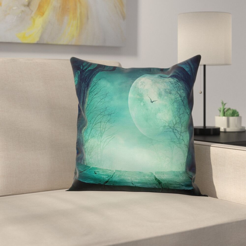 Spooky Forest Halloween Square Pillow Cover Size: 20