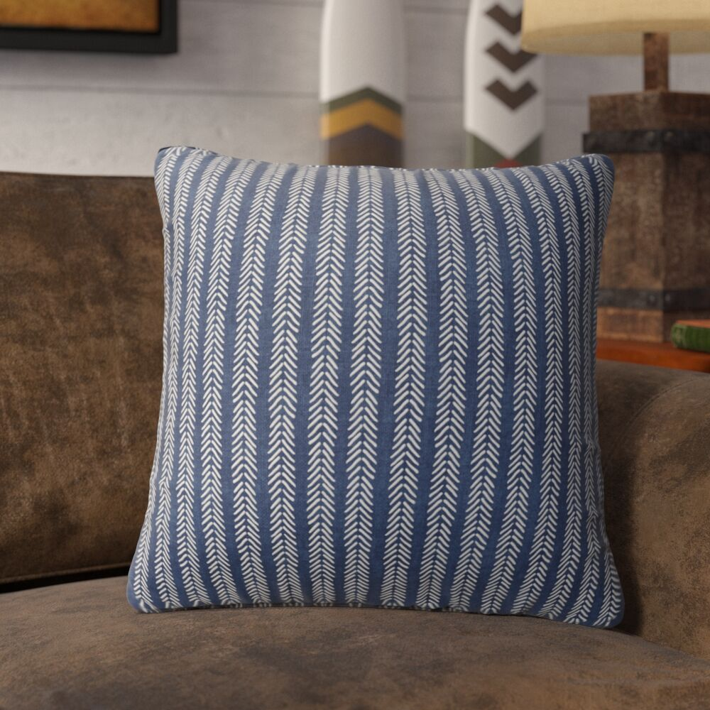 Couturier Striped Square Throw Pillow (Set of 16) Color: Indigo, Size: 24
