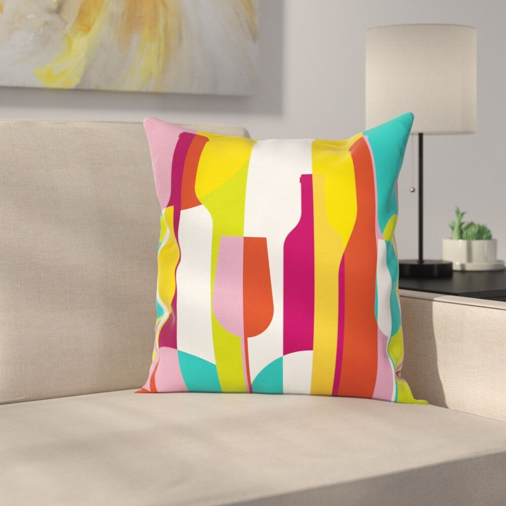 Wine Abstract Drinks Square Pillow Cover Size: 18