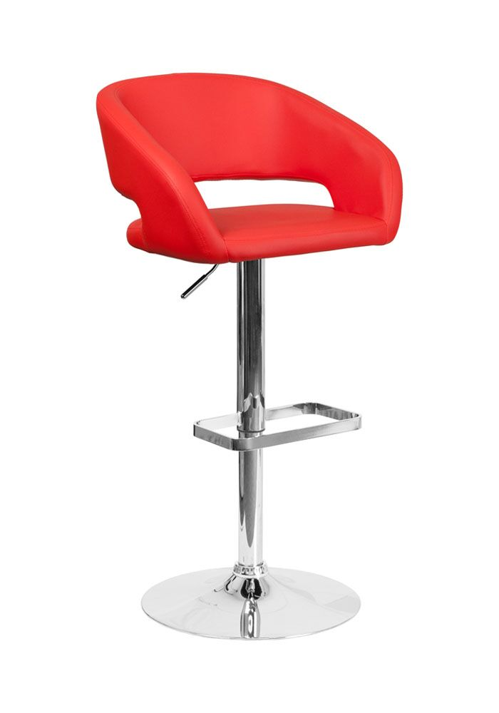 Spade Adjustable Height Swivel Bar Stool Upholstery: Red