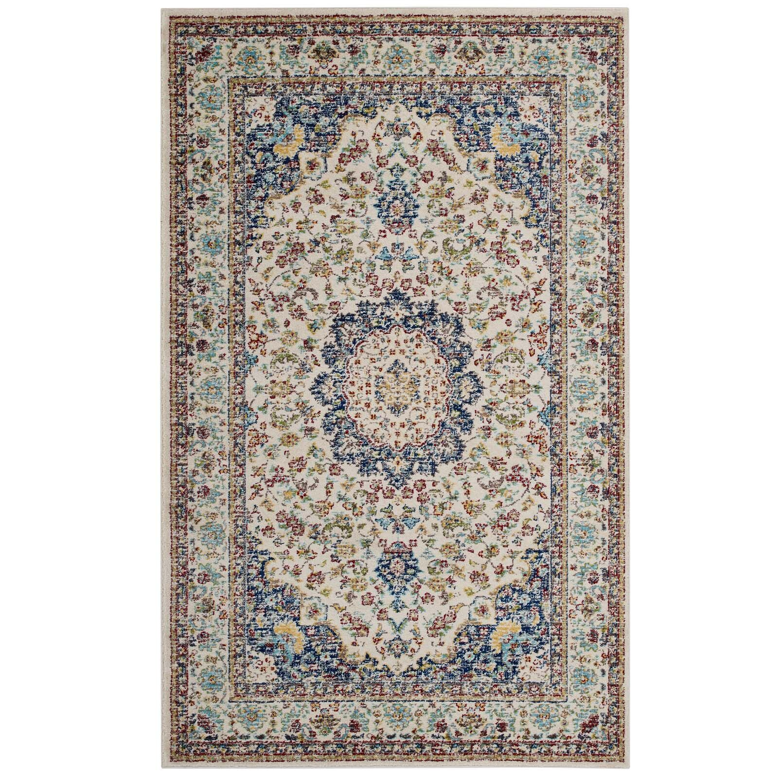 Fulcher Persian Medallion Blue/Beige Area Rug Rug Size: Rectangle 8' x 10'