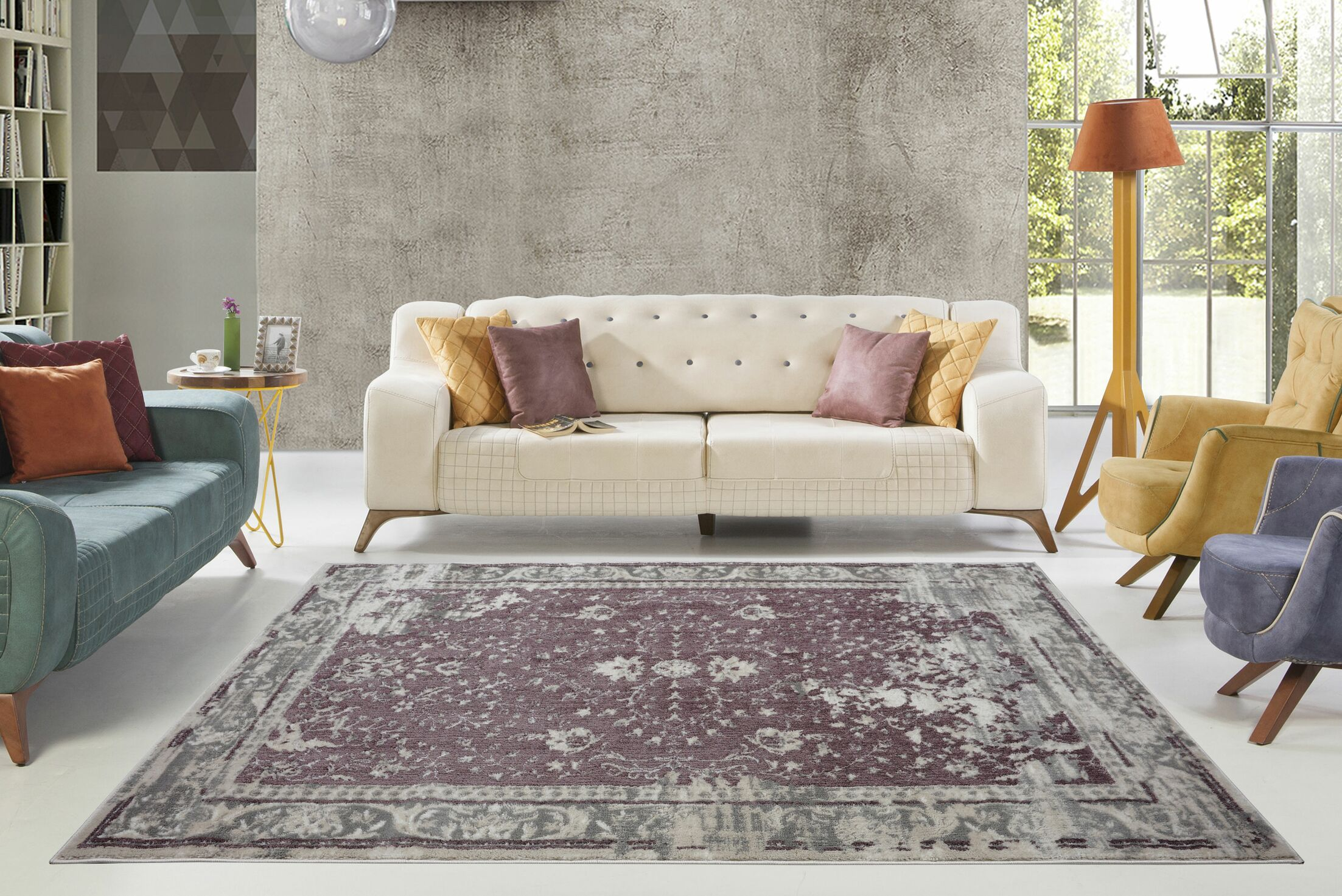 Eklund Champagne/Rose Cream Area Rug Rug Size: Rectangle 5'3