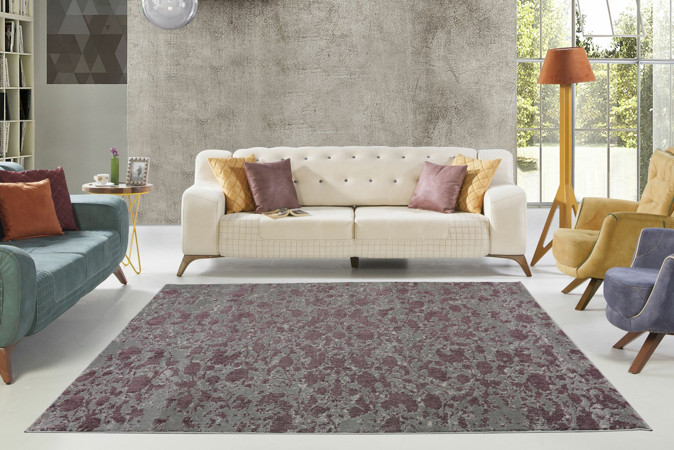 Dipasquale Champagne/Plum Gray Area Rug Rug Size: Rectangle 3'11
