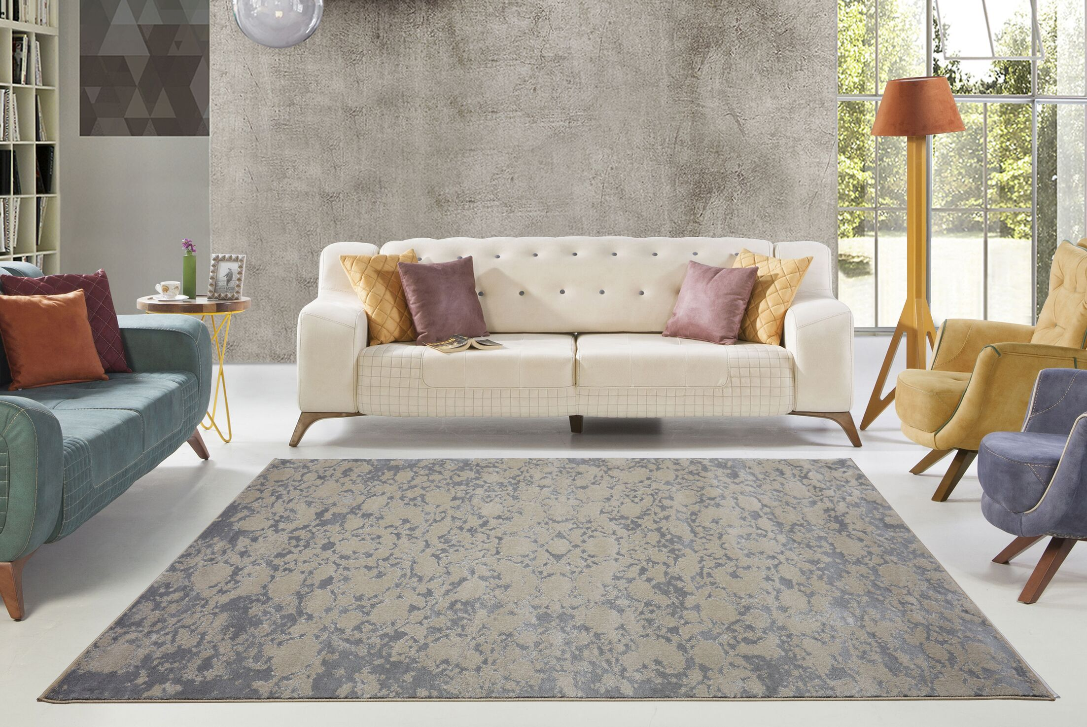 Dipasquale Camel Gray/Champagne Area Rug Rug Size: Rectangle 5'3
