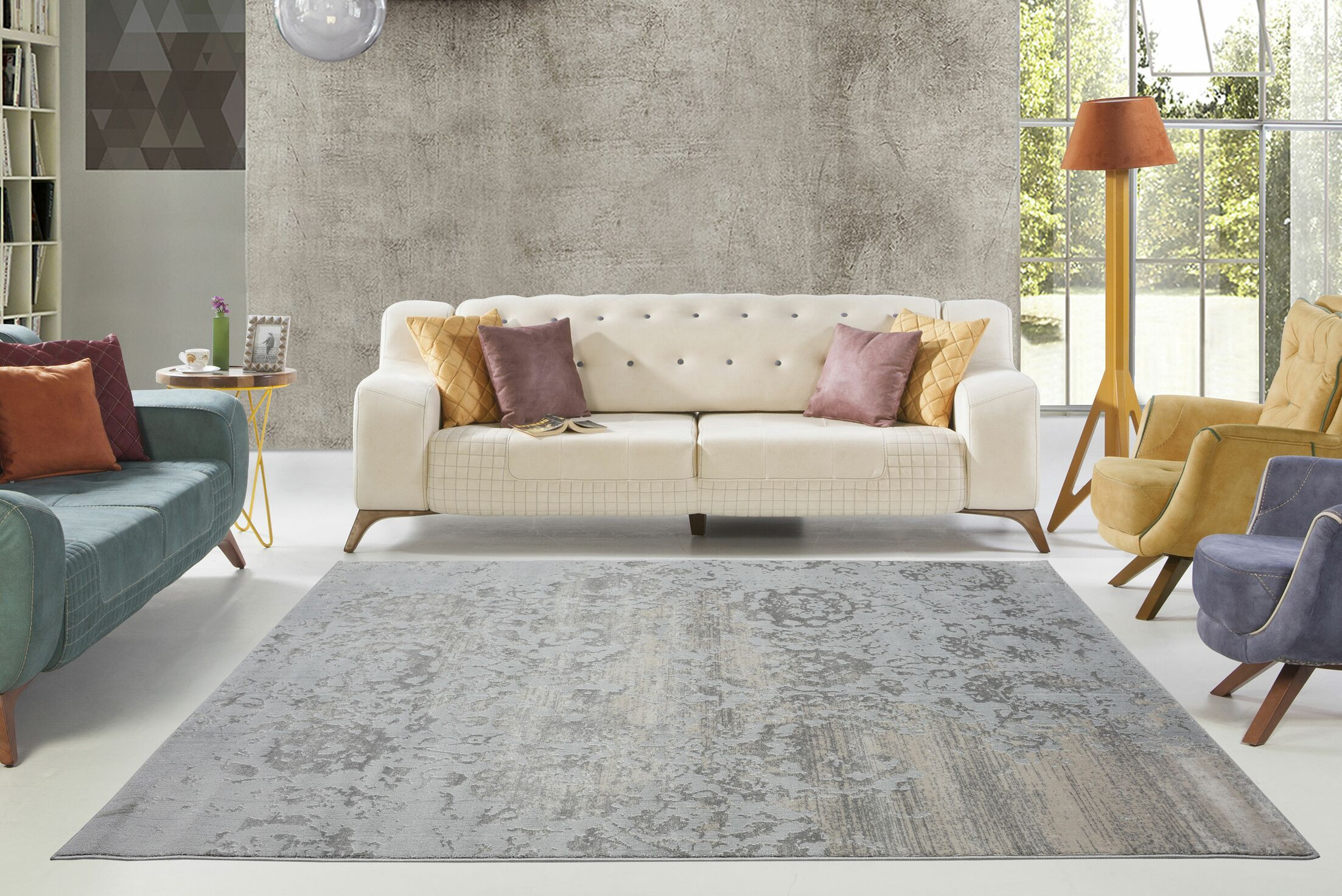 Dipasquale Champagne/Gray Area Rug Rug Size: Rectangle 6'6