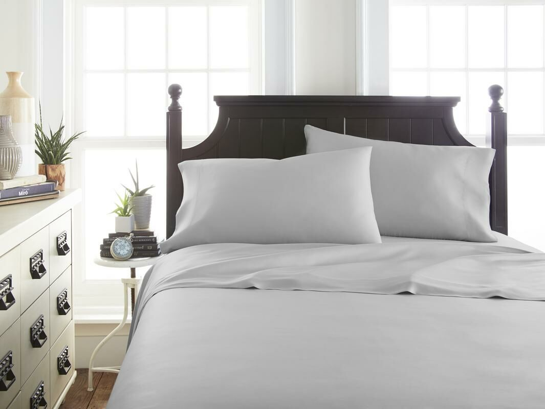 Barton Sheet Set Size: King, Color: Light Gray