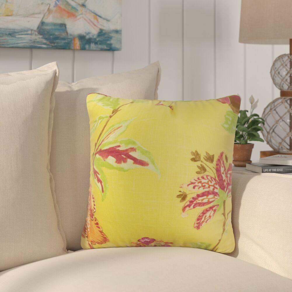 Shamavi Floral Linen Throw Pillow Color: Yellow