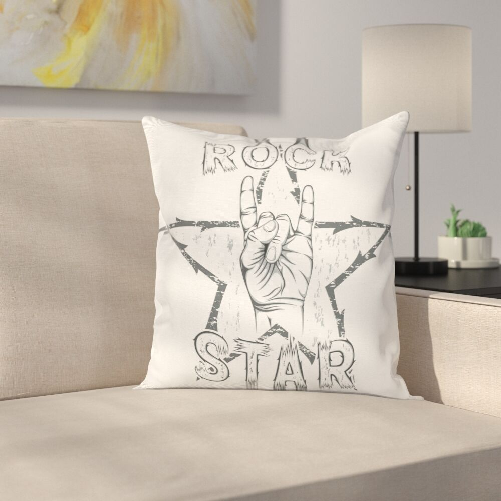 Rock Star Gesture Square Pillow Cover Size: 18