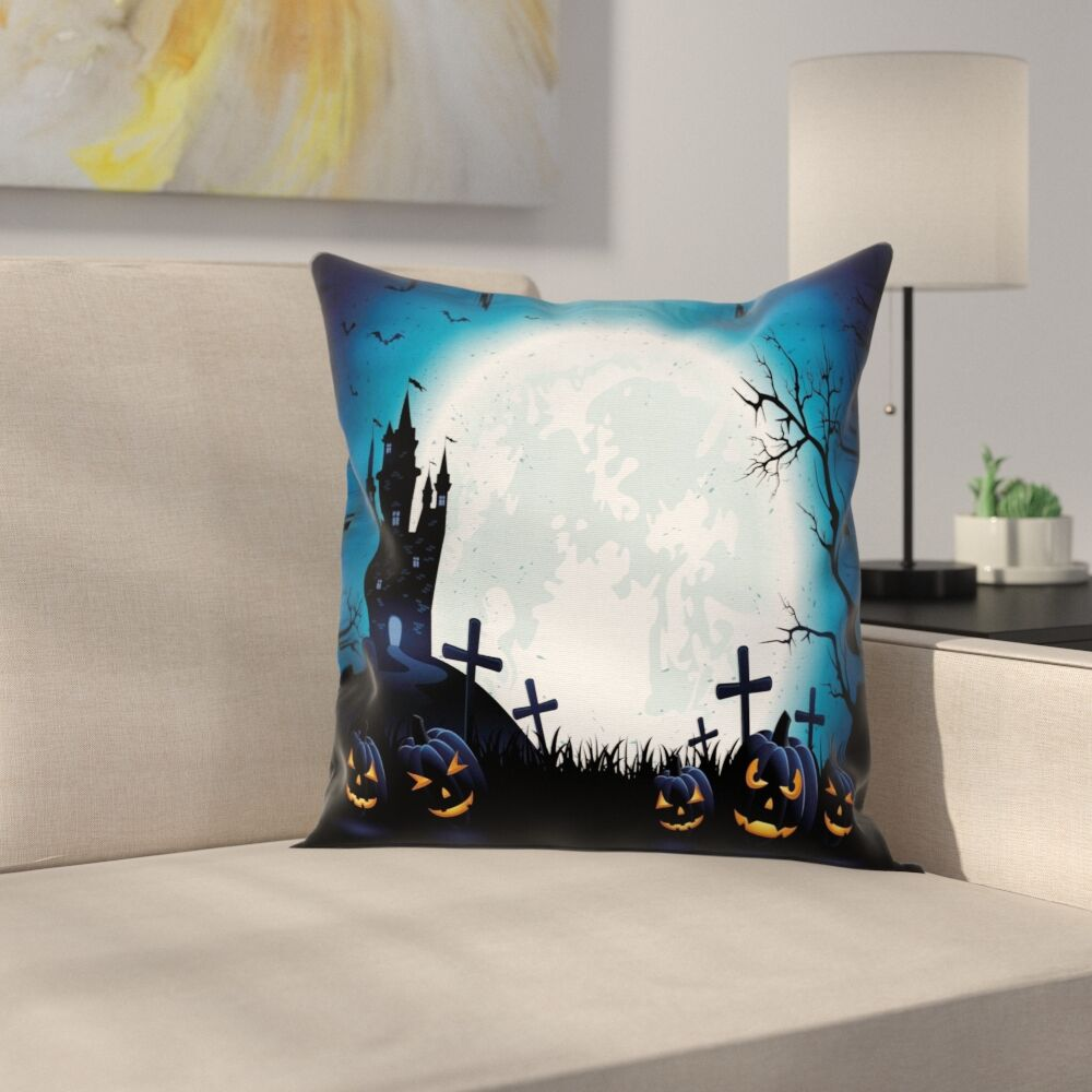 Halloween Decor Moon Pumpkins Square Pillow Cover Size: 24
