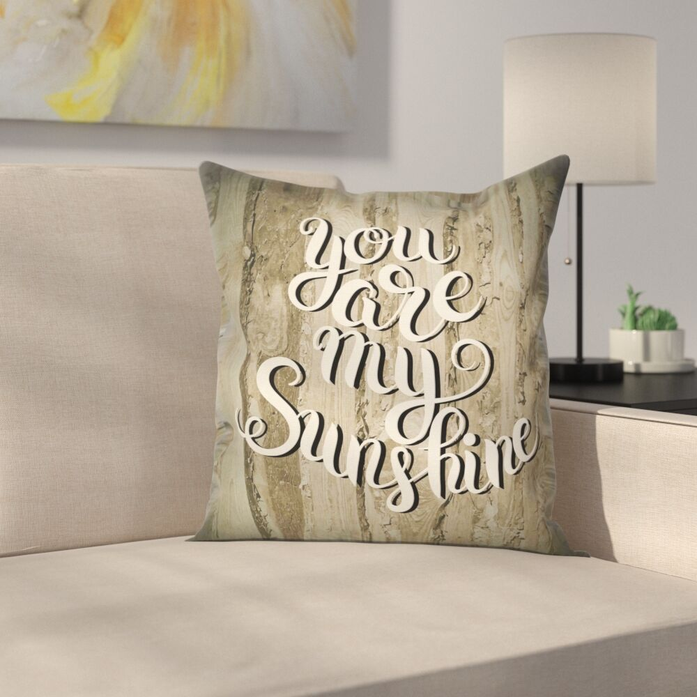 Romantic Quote Wooden Square Pillow Cover Size: 18