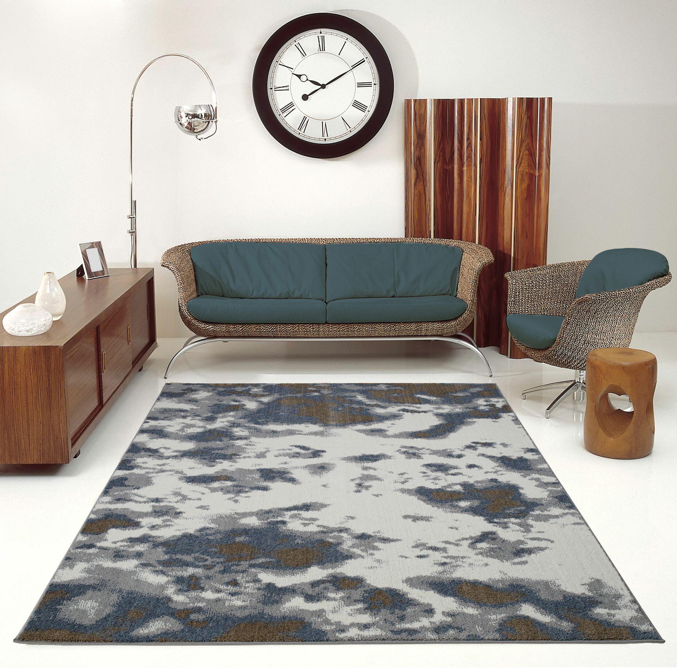 Toronto Brampton Ivory/Gray Area Rug Rug Size: Rectangle 5'3