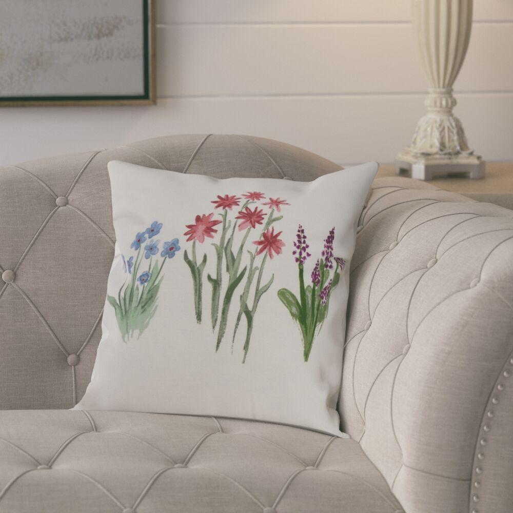 Laymon Flower Throw Pillow Color: Light Blue, Size: 16