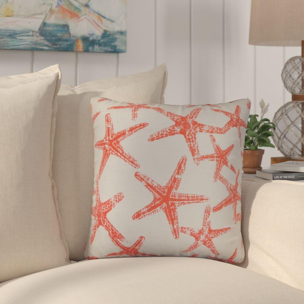 Begonia Coastal Cotton Throw Pillow Color: Red