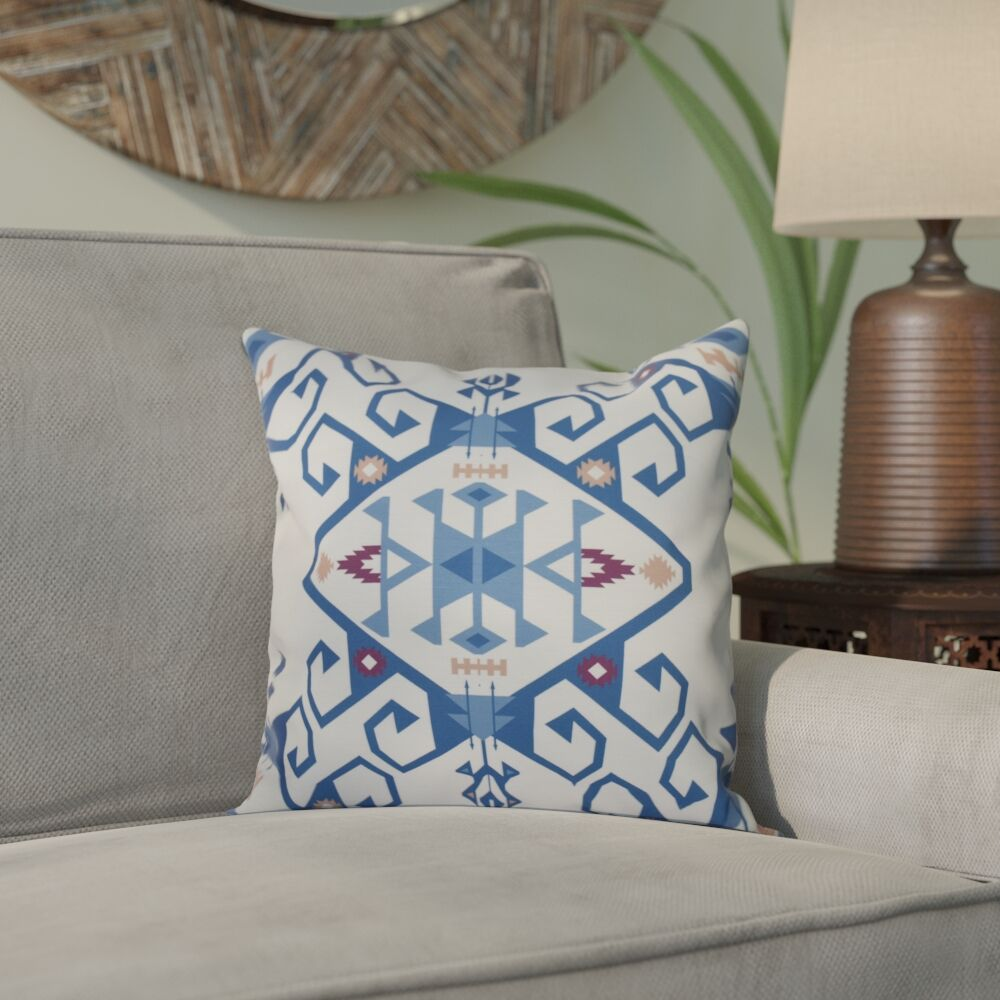 Meetinghouse Jodhpur Medallion 2 Geometric Print Throw Pillow Color: Blue, Size: 18