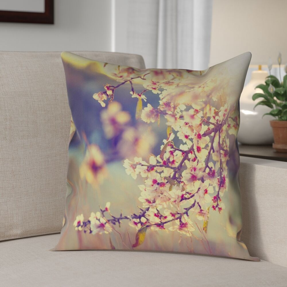 Ghost Train Cherry Blossoms Faux Leather Pillow Cover Size: 16
