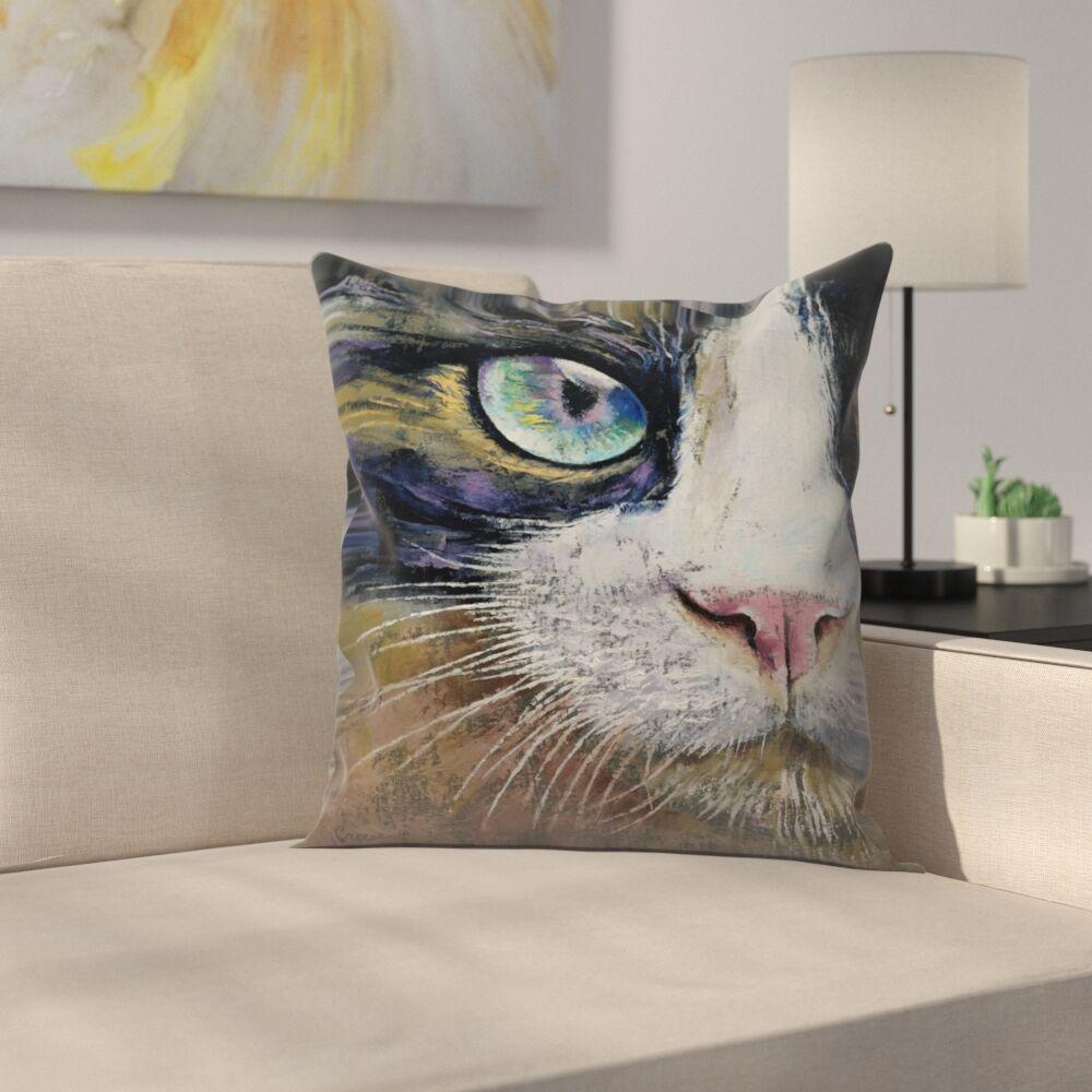 Michael Creese Snowshoe Cat Throw Pillow Size: 20