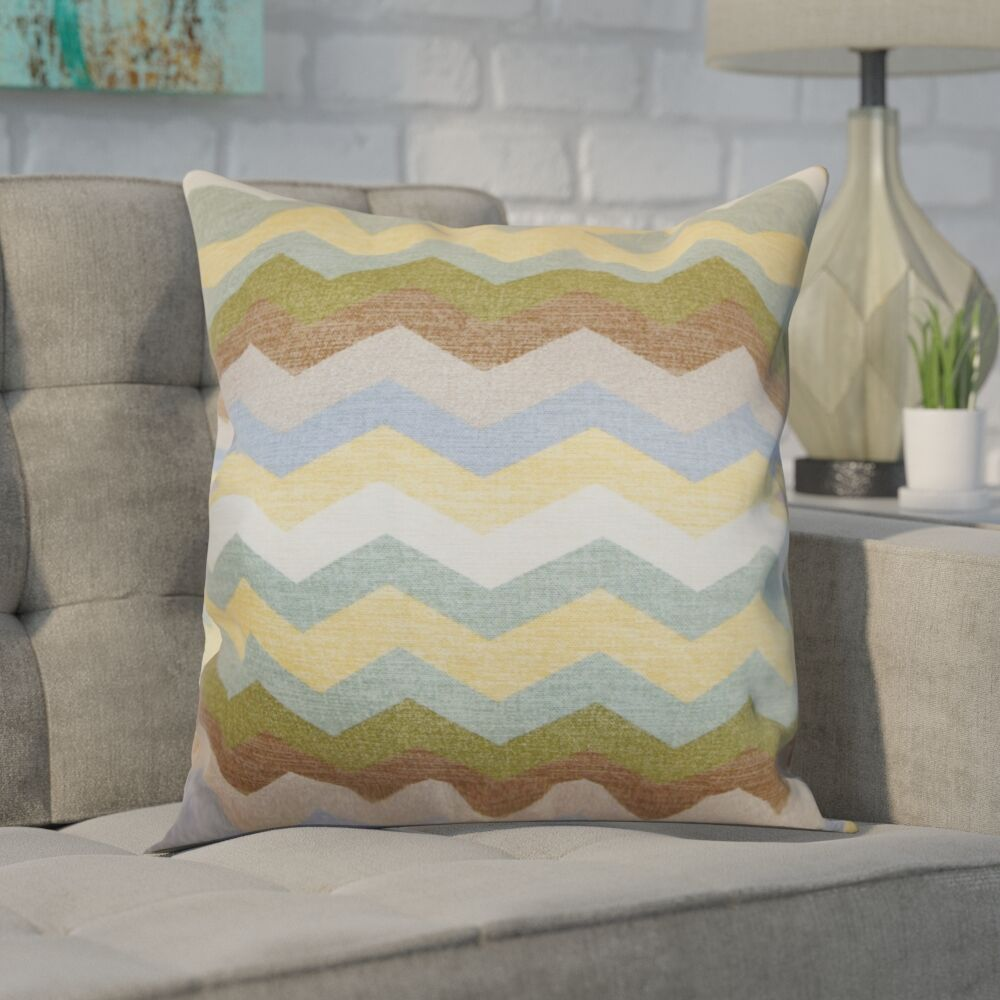 Espinal Zigzag Cotton Throw Pillow Color: Pebble, Size: 20