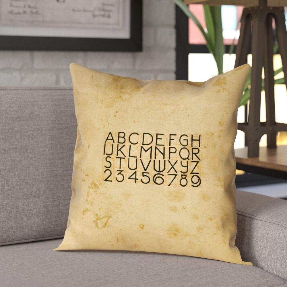 Daniyar Vintage Typography 100% Cotton Pillow Cover Size: 14