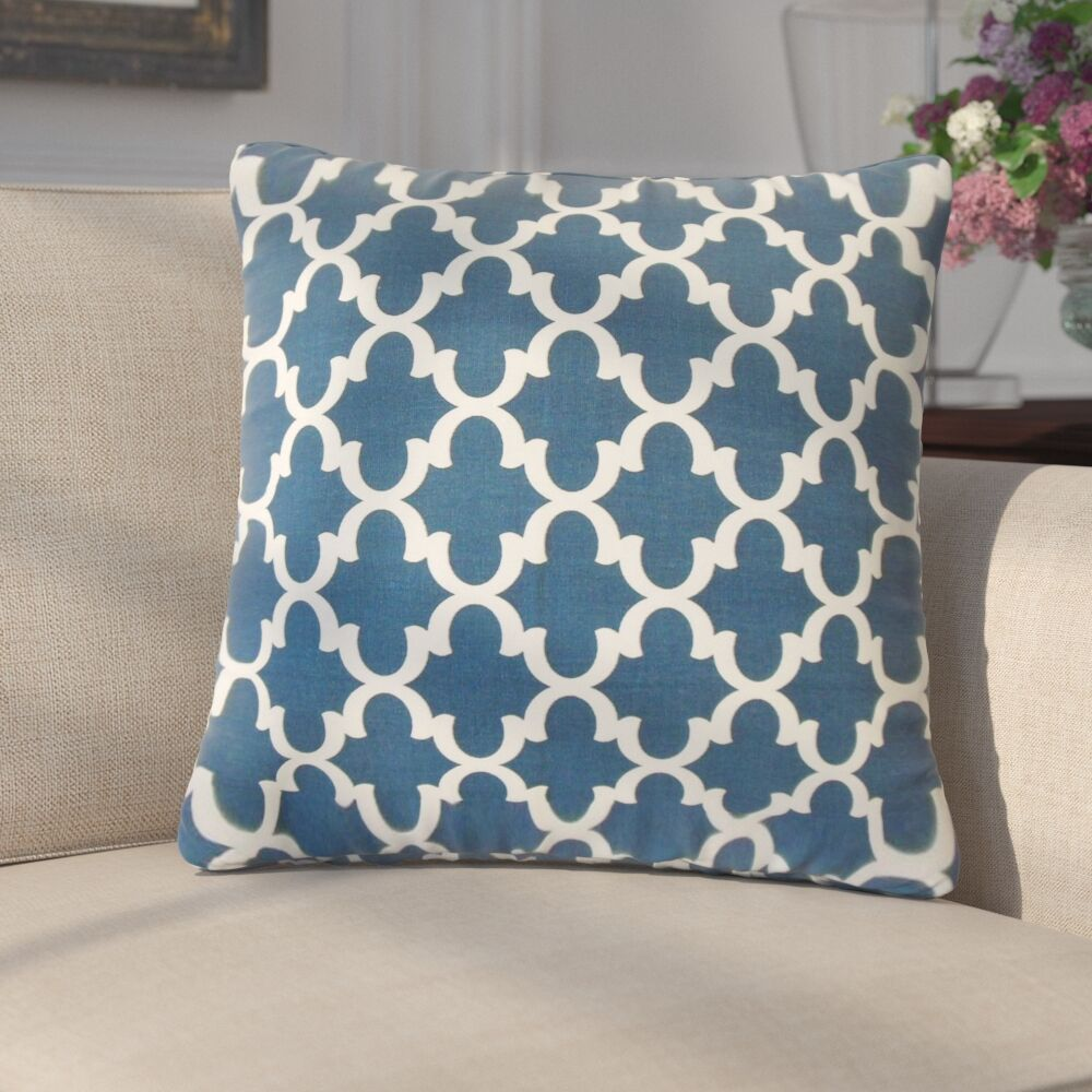 Luigi Geometric Cotton Throw Pillow Color: Navy