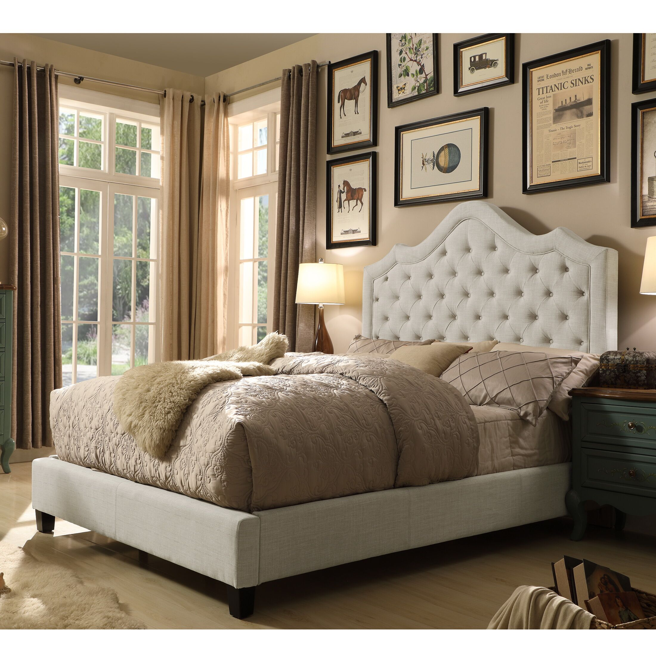Orlando Upholstered Panel Bed Size: Twin, Color: Beige