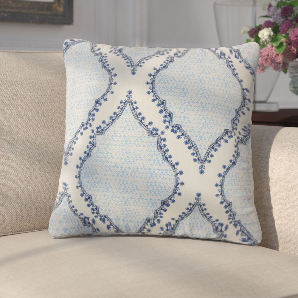 Ilario Ikat Cotton Throw Pillow Color: Blue