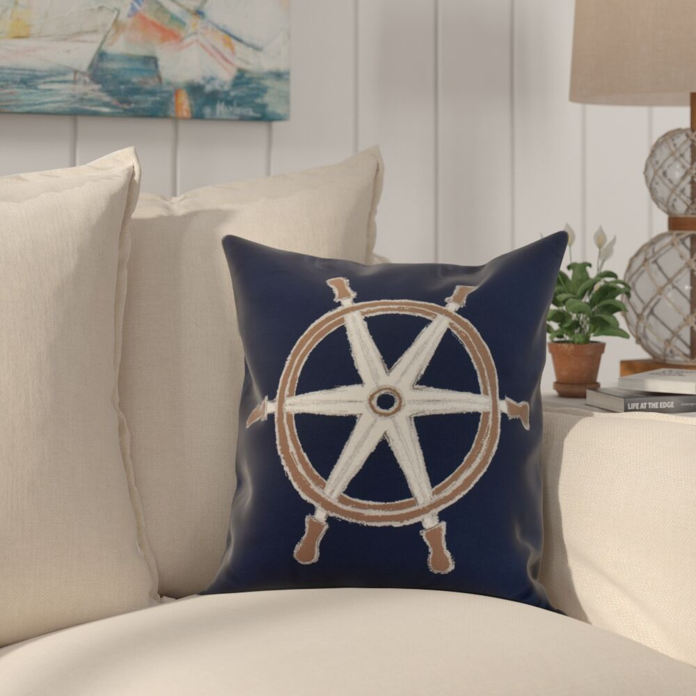 Crider Ship Wheel Geometric Print Indoor/Outdoor Throw Pillow Color: Navy, Size: 20
