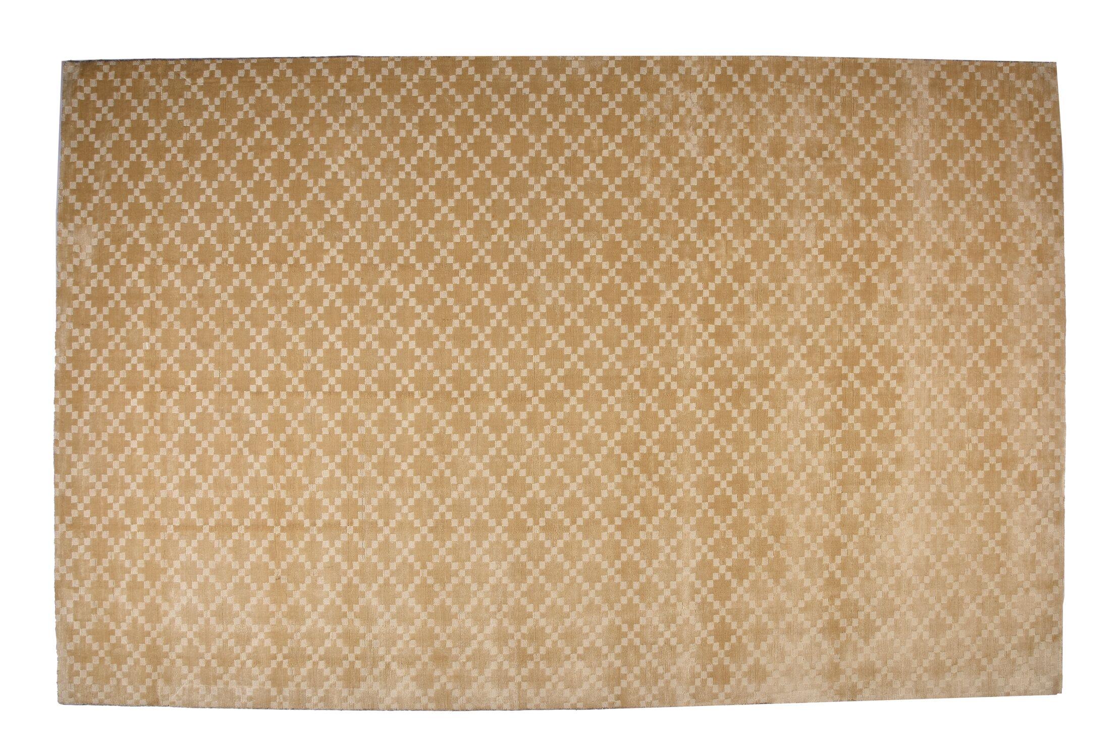 Teressa Diamond Hand-Woven Wool Beige Area Rug Rug Size: Rectangle 5'x 8'