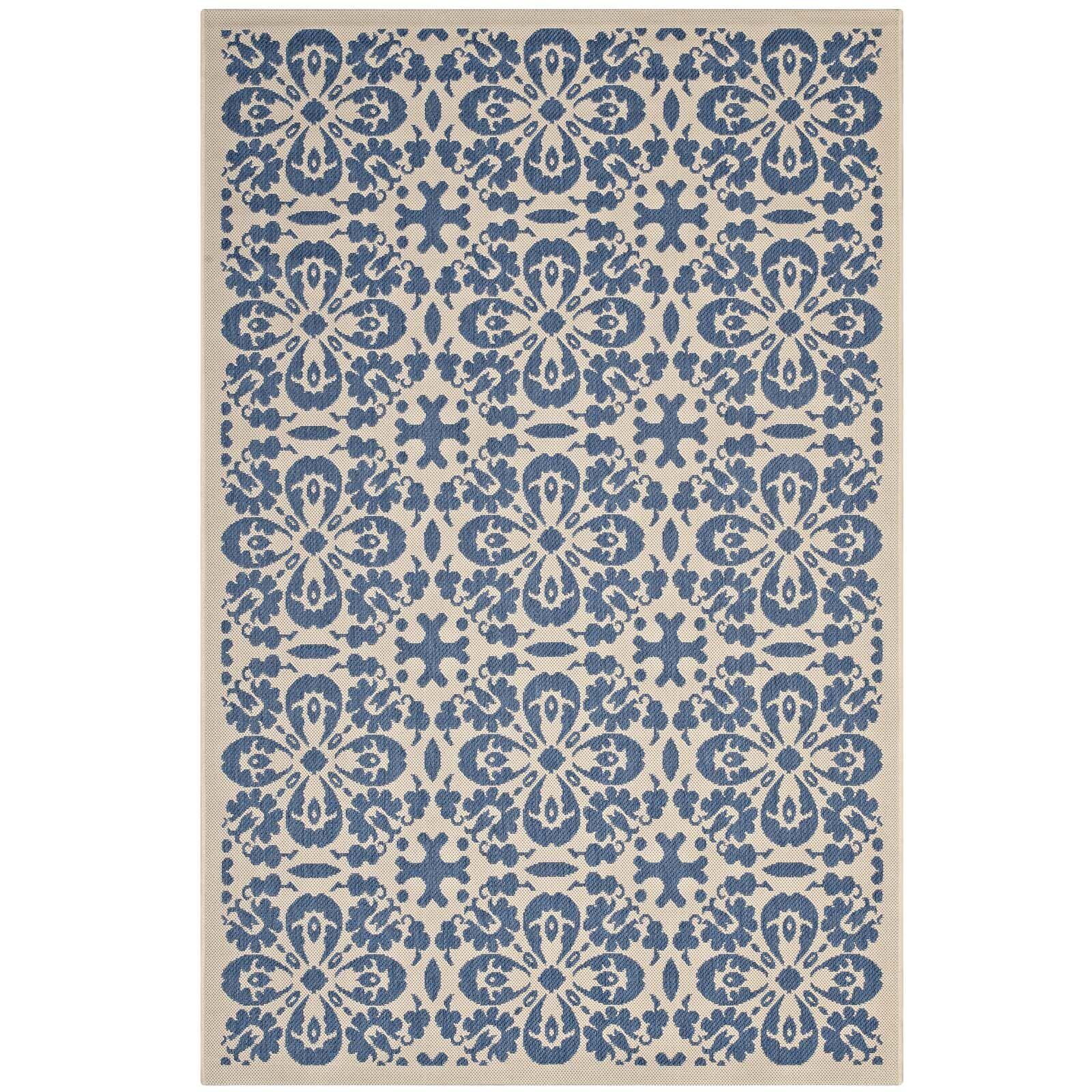 Herzberg Vintage Floral Blue/Beige Indoor/Outdoor Area Rug Rug Size: Rectangle 8' x 10'