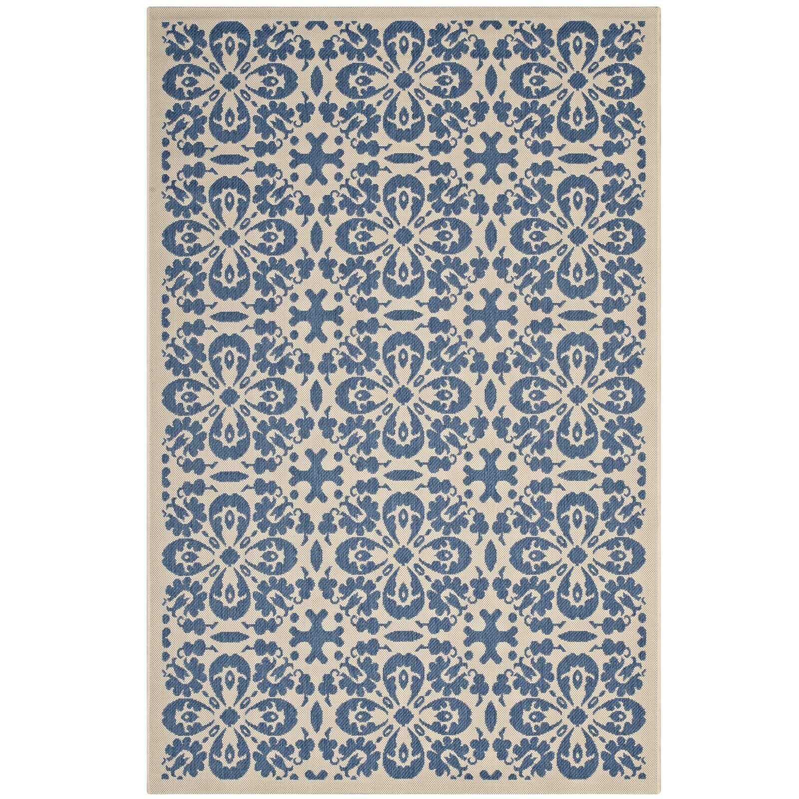 Herzberg Vintage Floral Blue/Beige Indoor/Outdoor Area Rug Rug Size: Rectangle 5' x 8'