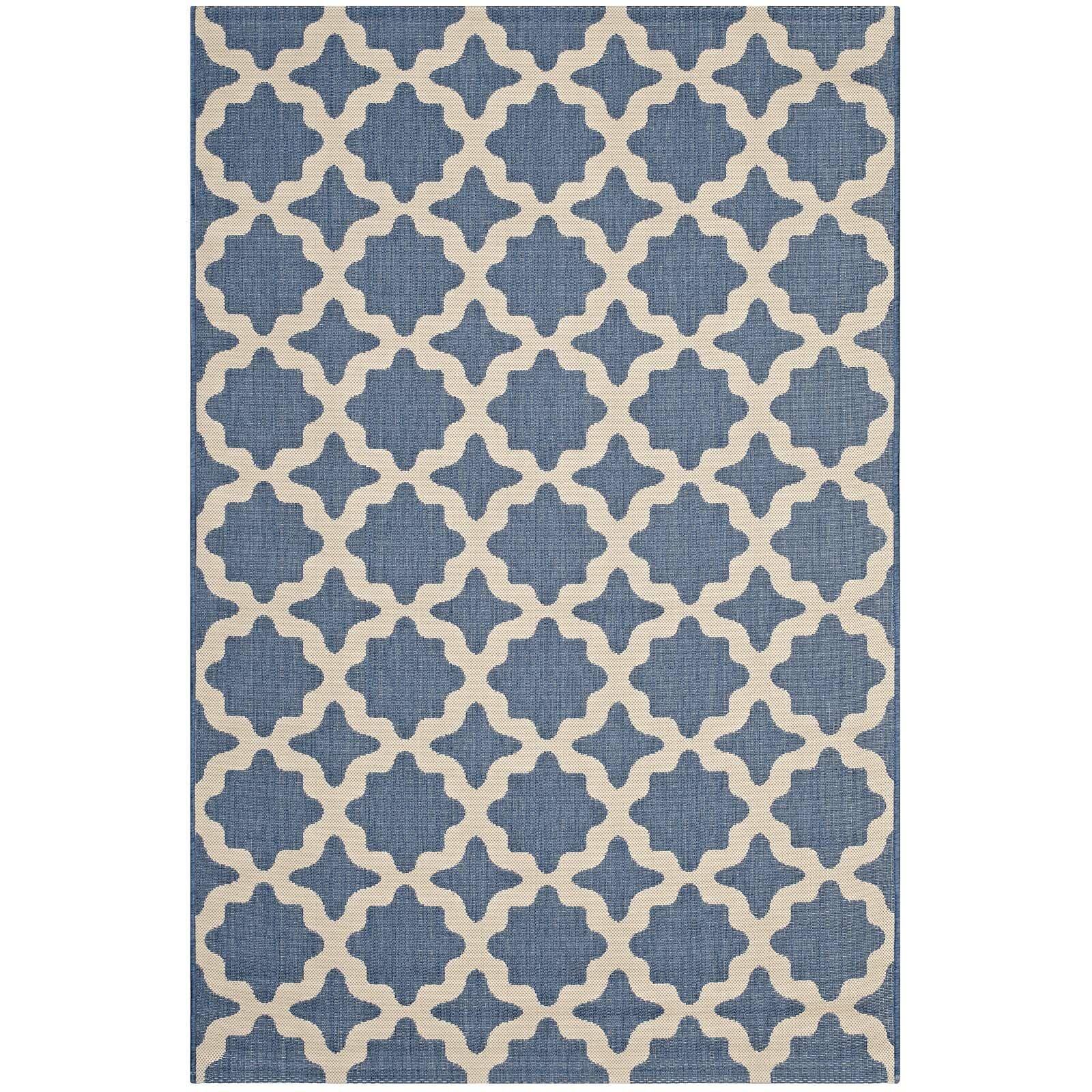 Hervey Bay Moroccan Trellis Blue/Beige Indoor/Outdoor Area Rug Rug Size: Rectangle 8' x 10'