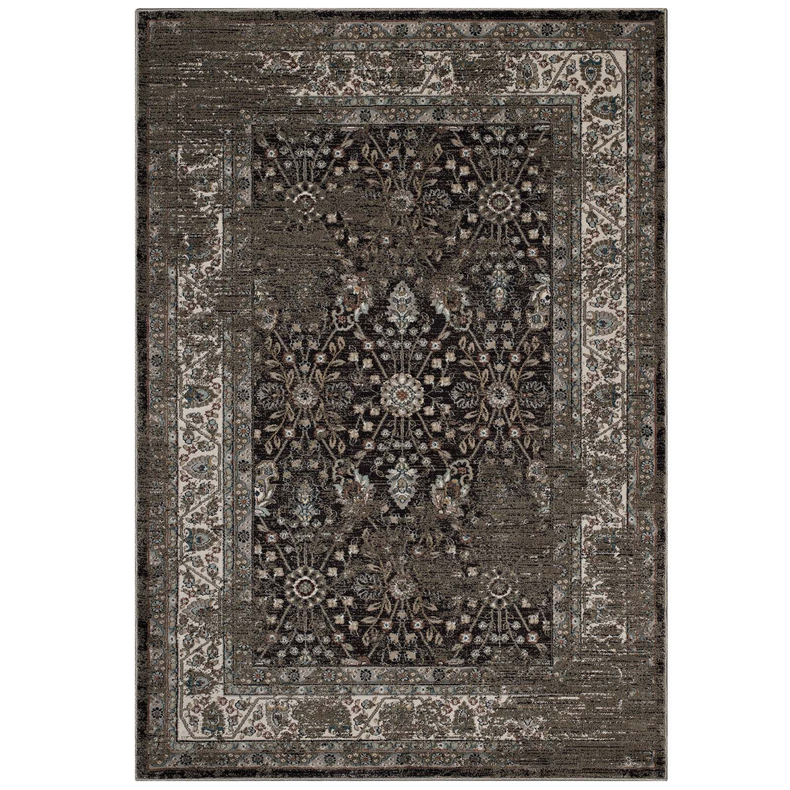 Housley Vintage Beige/Black Area Rug Rug Size: Rectangle 8' x 10'