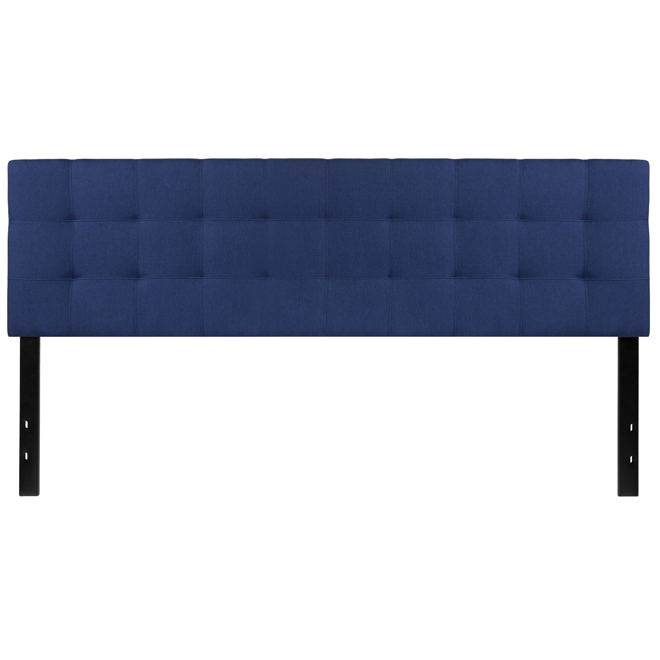 Fitzgibbon Bedford Tufted Upholstered Panel Headboard Upholstery: Navy, Size: Queen