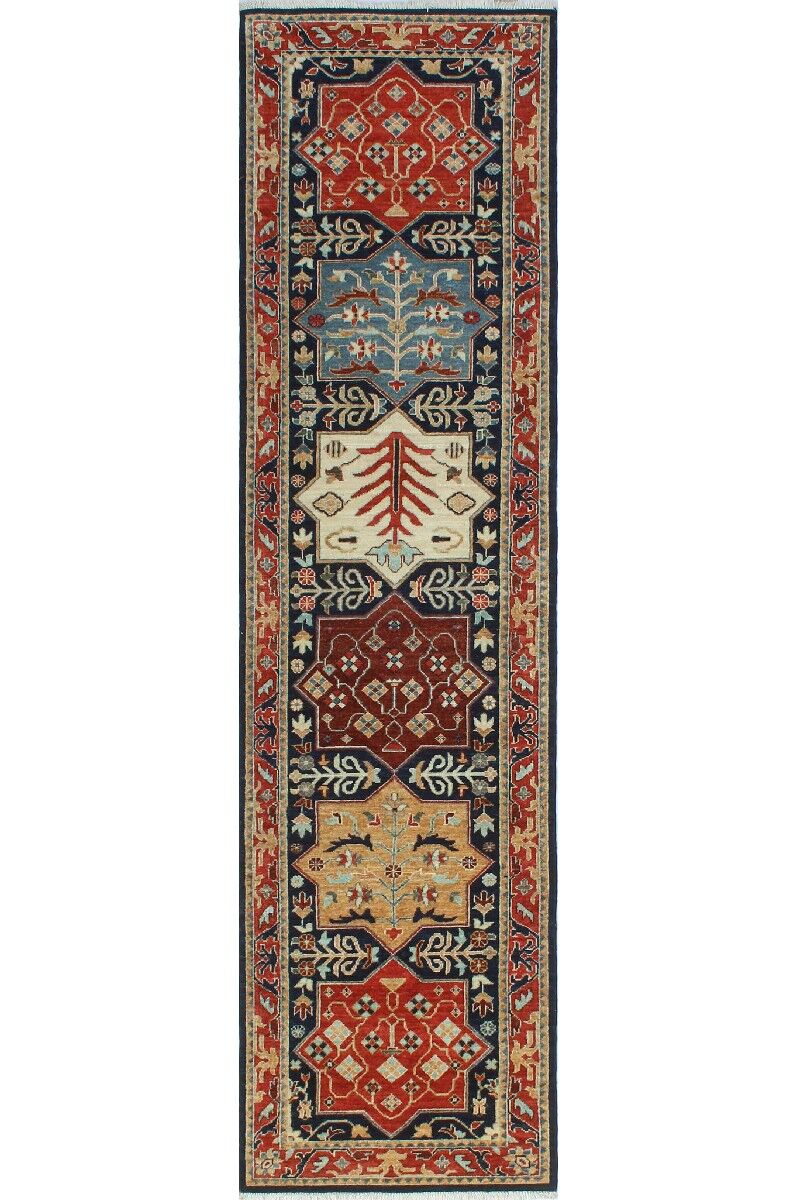One-of-a-Kind Jacque Hand-Knotted Wool Blue/Beige Area Rug
