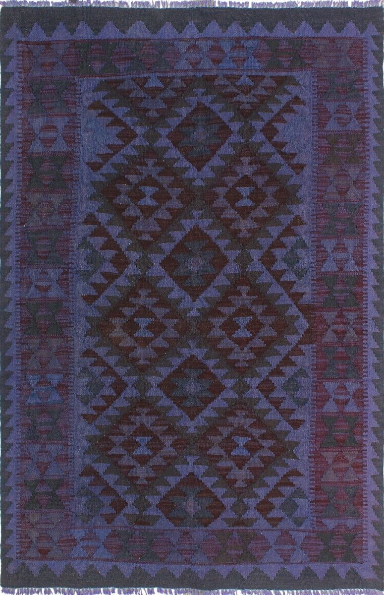 One-of-a-Kind Gerri Hand-Woven Wool Purple Area Rug