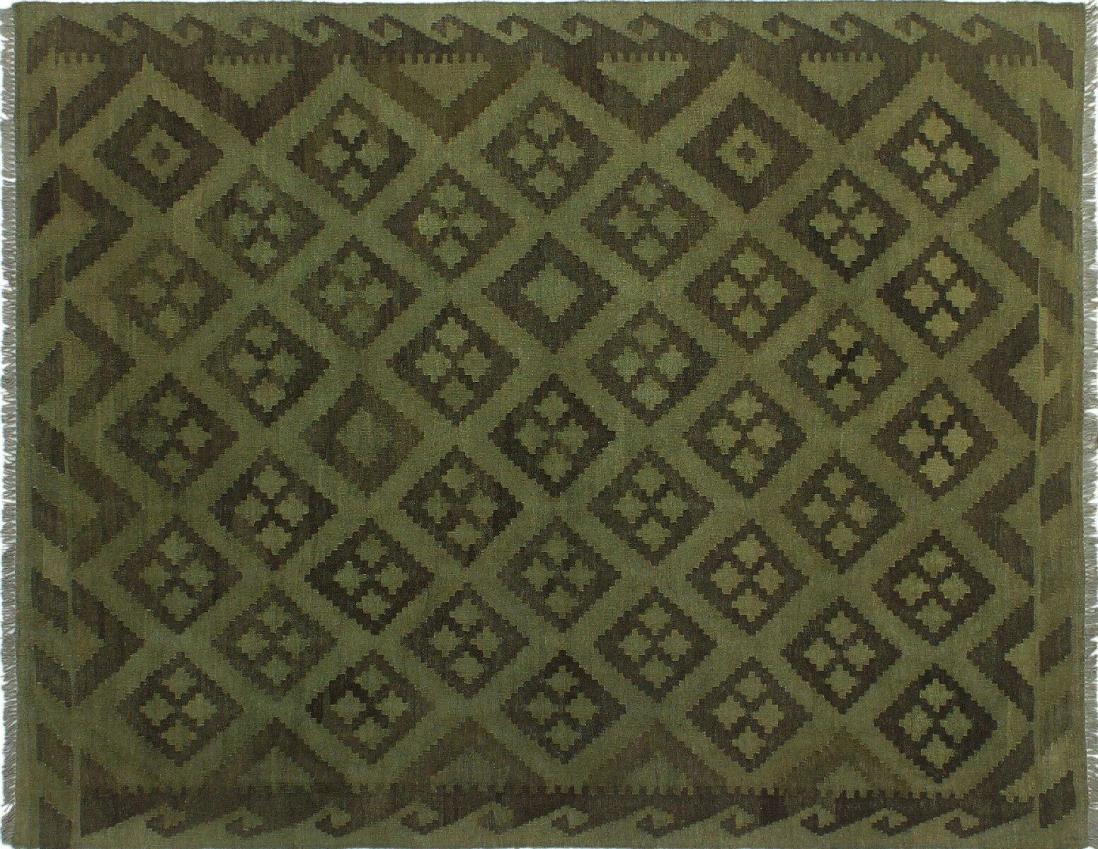 One-of-a-Kind Gerri Hand-Woven Wool Green Area Rug