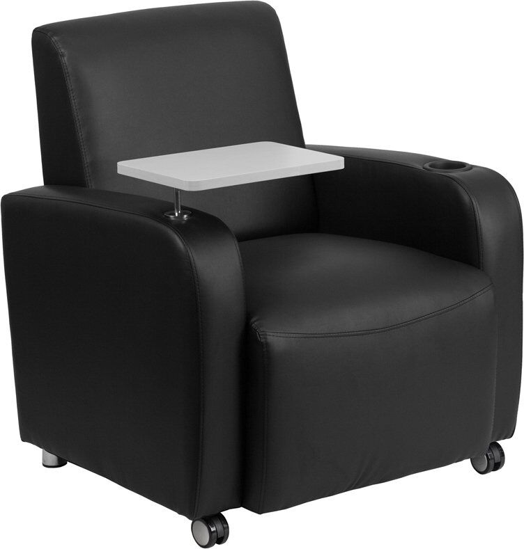 Whicker Leather Guest Chair Seat Color: Black