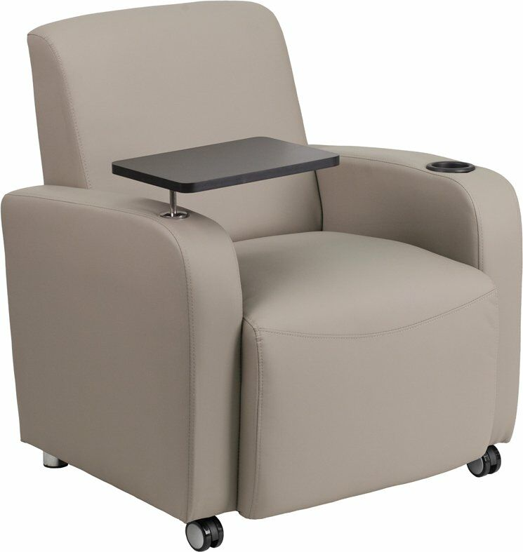 Whicker Leather Guest Chair Seat Color: Gray